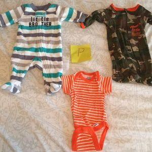 Boy Preemie jumper one piece footsie bundle